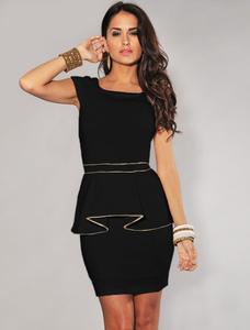 Zwart goud peplum jurkje