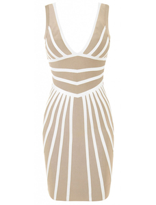 Beige sleeveless bandage dress