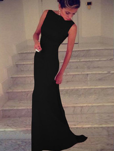 Zwarte mouwloze maxi jurk