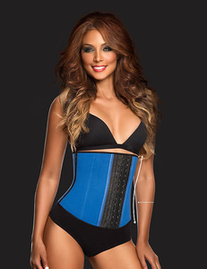 Sport latex waist-trainer blauwe 3-hook