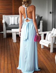Light blue multi-maxi dress
