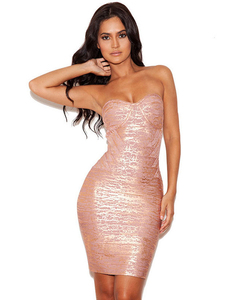 Strapless gold bandage dress