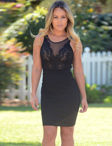Black transparant mini dress