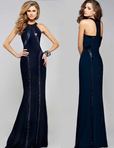 Blauwe paillette gala jurk