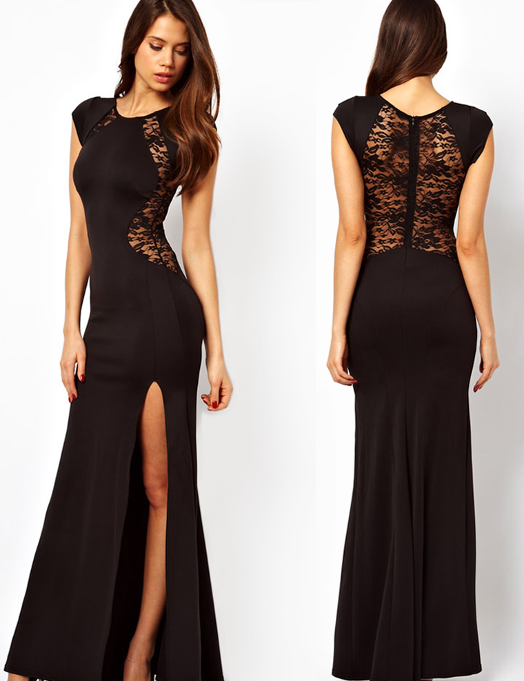Zwart kanten jurkje met lange mouwen
