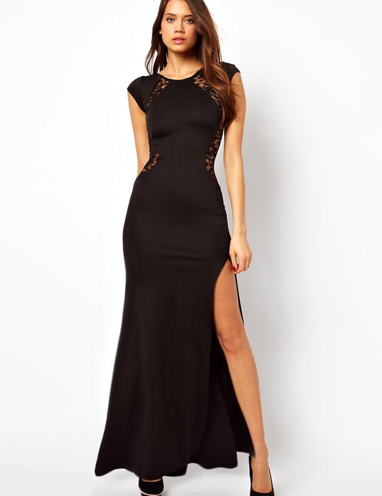 Zwarte lange jurk met split
