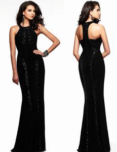 Zwarte paillette gala jurk