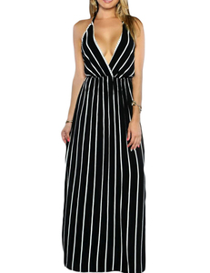 Striped backless dress black