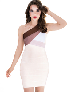 Coffee one shoulder bandage dress