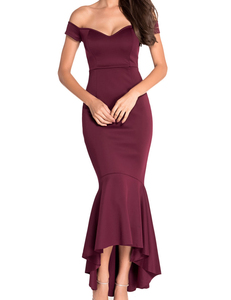 Bordeaux mermaid jurk