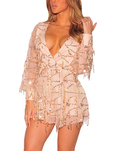Champagne paillette playsuit