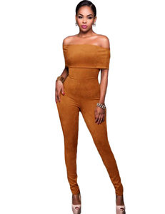 Brown suede off shoulder jumpsuit