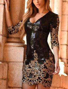 Zwart gouden paillette jurk