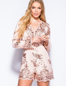 Sequin longsleeve playsuit nude