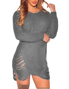 Gescheurde gebreide sweater grijs