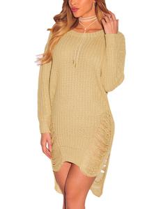 Gescheurde gebreide sweater khaki
