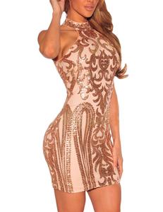 Vintage sequin jurk nude