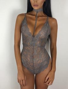 Lace bodysuit choker grijs