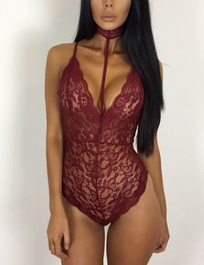 Lace bodysuit choker bordeaux
