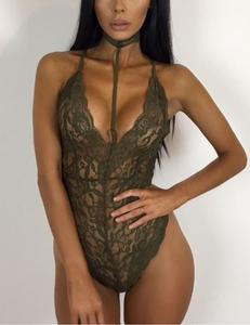 Lace bodysuit choker groen