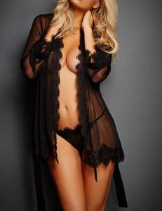 Lace kimono zwart
