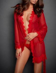 Lace kimono rood