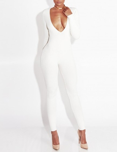 Plunge knit jumpsuit wit