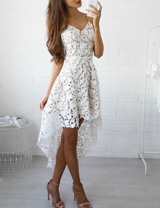 Lace high low skater dress white