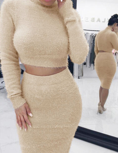 Fluffy 2 piece set nude