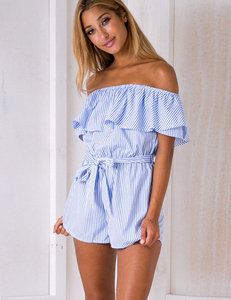 Blue striped romper