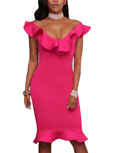 Ruffle mermaid dress roze