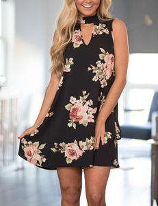Black floral A-dress