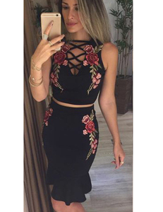 Floral 2piece set black