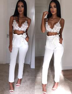High waist belt pants wit
