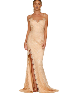 Lace gala backless dress nude