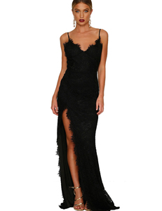 Lace gala backless dress black