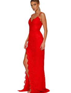 Lace gala backless dress red