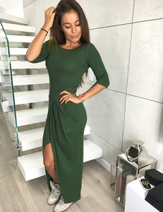 Knit wrap dress green
