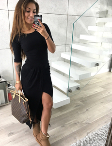 Knit wrap dress black