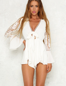 White lace bow romper
