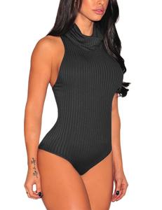 Knitted bodysuit zwart