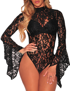 Lacey bodysuit zwart