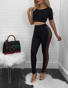 Striped sporty 2 piece set