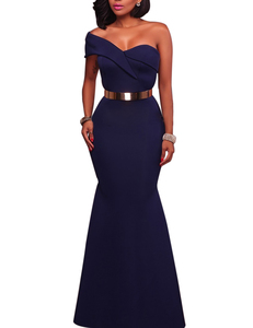 One shoulder mermaid jurk blauw