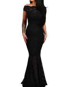 Bardot lace mermaid dress zwart