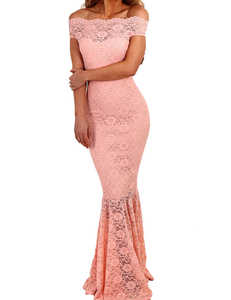 Bardot lace mermaid dress salmon