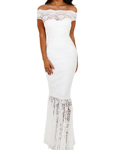 Bardot lace mermaid dress wit