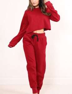 Sporty 2 piece long sleeve rood