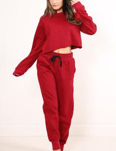 Sporty 2 piece long sleeve rood