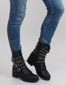 Strappy black boots leather